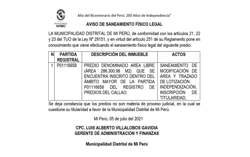 AVISO DE SANEAMIENTO FÍSICO LEGAL