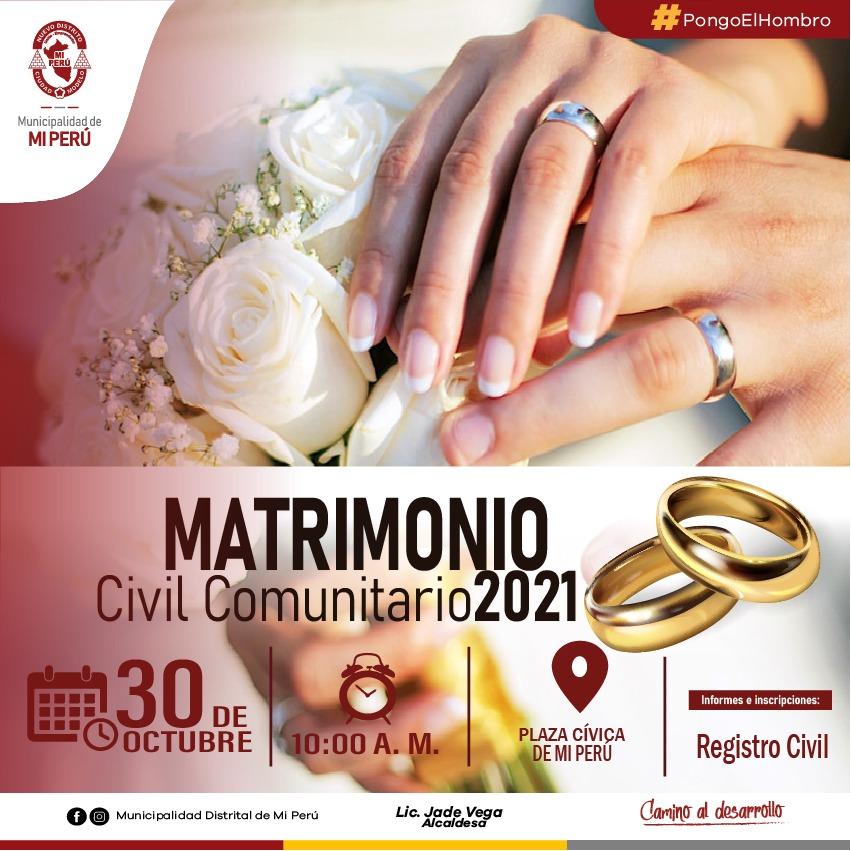 MATRIMONIO CIVIL COMUNITARIO 2021